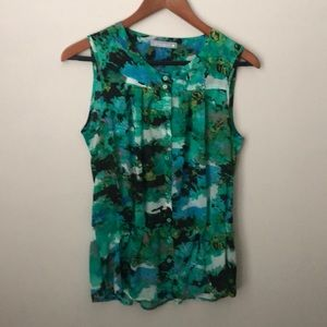 Olivia Moon sleeveless cinched waist printed top